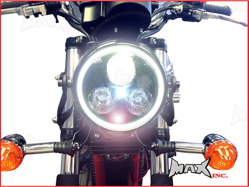 Black Metal 3 Eye LED Headlight Integrated White LED DRL Angel Eye