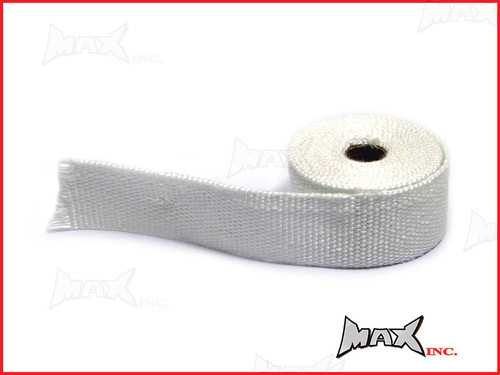 White Fiberglass Exhaust Heat Wrap - 5 Metre Roll