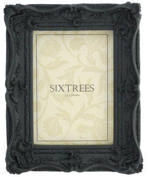 Sixtrees Chelsea 5-253-57 Shabby Chic Ornate Swept Black 7x5 inch  Photoframe