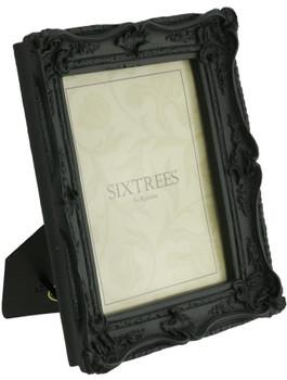 Sixtrees Chelsea 5-253-68 Shabby Chic Style Very Ornate Matt Black 8x6 inch Photo Frame