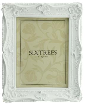 Sixtrees Chelsea 5-254-68 Shabby Chic Style Very Ornate Matt White 8x6 inch Photo Frame