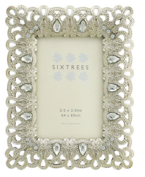 """Sixtrees Diana Antique Vintage and Shabby Chic Style silver metal photo frame with beads and crystals for a 3.5"""" x 2.5"""" (64 x 89mm) picture"""