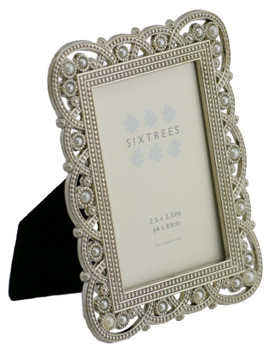 """Sixtrees Louisa Antique Vintage and Shabby Chic Style silver metal photo frame with beads and crystals for a 3.5"""" x 2.5"""" (64 x 89mm) picture"""
