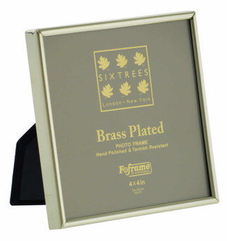 """Sixtrees Hartford 1-400-44. Brass Plated Photo Frame for a 4"""" x 4"""" (102mm x 102mm) Picture"""
