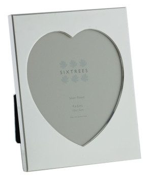 """Sixtrees Romeo Heart Shaped silver plated photo frame for a 4"""" x 6"""" (102mm x 152mm) picture."""