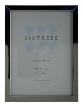 Sixtrees Elite Square Edge Silver Plated 8x6 inch (203x152mm) Photo Frame
