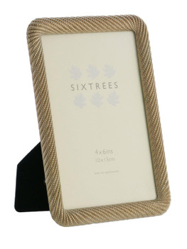 """Sixtrees Ava Ornate Rose Gold Metal finish ropework effect photoframe for a 6""""x 4"""" (150mm x 100mm) picture"""