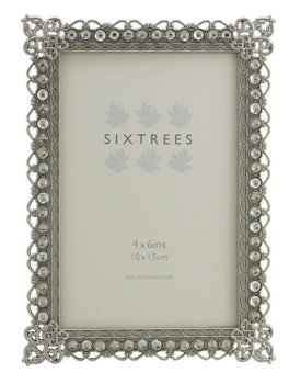"""Sixtrees Adelaide Antique Vintage and Shabby Chic Style silver metal photo frame with beads and crystals for a 6"""" x 4"""" (152 x 102mm) picture"""