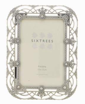 """Sixtrees Alice Antique Vintage and Shabby Chic Style silver metal photo frame with beads and crystals effect for a 6"""" x 4""""  picture."""