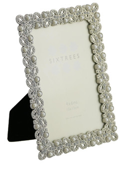 """Sixtres Beatrice Antique Vintage and Shabby Chic Style silver metal photo frame with beads and crystals effect for a 7"""" x 5"""" (178 x 127mm) picture."""