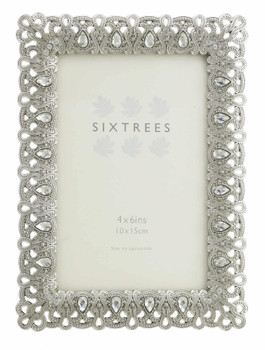 """Sixtrees Diana Antique Vintage and Shabby Chic Style silver metal photo frame with beads and crystals for a 6"""" x 4"""" picture"""