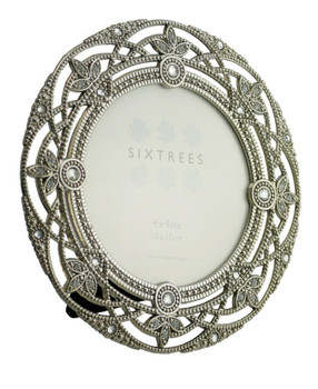 """Sixtrees Helena Antique Vintage and Shabby Chic Style silver metal photo frame with beads and crystals for a 4"""" (102mm diameter) picture."""