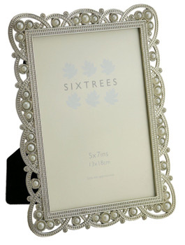 """Sixtrees Louisa Antique Vintage and Shabby Chic Style silver metal photo frame with beads and crystals for a 7"""" x 5"""" (178 x 127mm) picture."""