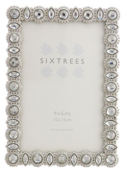 """Sixtrees Maria Antique Vintage and Shabby Chic Style silver metal photo frame with beads and crystals for a 6"""" x 4"""" picture."""