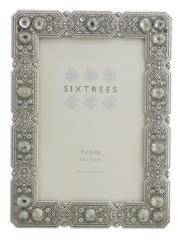 """Sixtrees Maud Antique Vintage and Shabby Chic Style silver metal photo frame with beads and crystals for a 6"""" x 4""""  picture."""