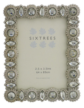 """Sixtrees Maria Antique Vintage and Shabby Chic Style silver metal photo frame with beads and crystals for a 3.5"""" x 2.5"""" picture."""
