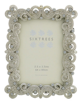 """Sixtrees Mattilda Antique Vintage and Shabby Chic Style silver metal photo frame with beads and crystals for a 3.5"""" x 2.5"""" picture."""