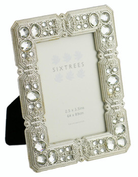 """Sixtrees Maud Antique Vintage and Shabby Chic Style silver metal photo frame with beads and crystals for a 3.5"""" x 2.5"""" picture."""