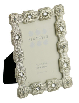 """Sixtrees Sarah Antique Vintage and Shabby Chic Style silver metal photo frame with beads and crystals for a 3.5"""" x 2.5"""" picture."""