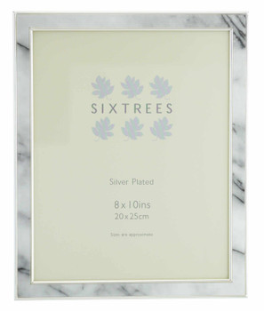"""Sixtrees Georgette 2-686-80  Silver Plated Photo Frame with Grey Marble effect insert for a 10"""" x 8"""" Picture."""