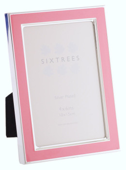 Sixtrees Kew 2-692-46 6x4 inch Silver Plated and Bright Pink Enamel Photoframe.