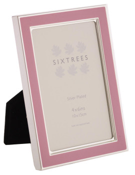 Sixtrees Kew 2-693-46 6x4 inch Silver Plated and Dusky Pink Enamel Photoframe.