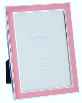 Sixtrees Kew 2-692-57 7x5 inch Silver Plated and Bright Pink Enamel Photoframe.