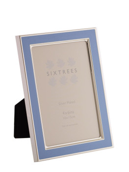 Sixtrees Kew 2-694-46 6x4 inch Silver Plated and Bright Blue Enamel Photoframe.