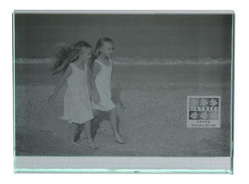 """Sixtrees GT602-46 Heavy Solid square cut Glass photo frame for two 6"""" x 4"""" pictures."""