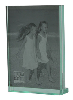 """Sixtrees GT602-57V Heavy Solid square cut Glass photo frame for two 5"""" x 7"""" pictures."""