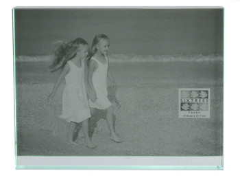 """Sixtrees GT602-57H Heavy Solid square cut Glass photo frame for two 7"""" x 5"""" pictures."""