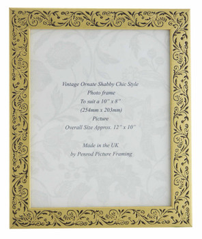 Iris Handmade Gold and Black Floral Vintage 10x8 inch Photo Frame.