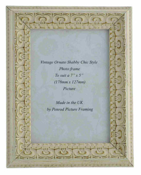 Juliet White Handmade Ornate Distressed Soft White Shabby Chic 7x5 inch Photo Frame with Gold highlights.