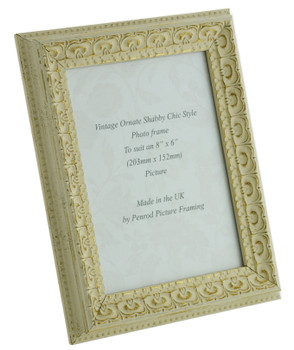 Juliet White Handmade Ornate Distressed Soft White Shabby Chic 8x6 inch Photo Frame with Gold highlights.