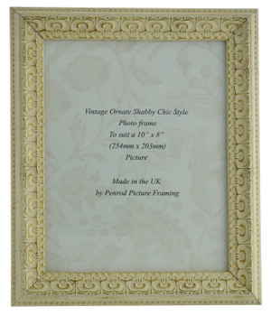 Juliet White Handmade Ornate Distressed Soft White Shabby Chic 10x8 inch Photo Frame with Gold Highlights