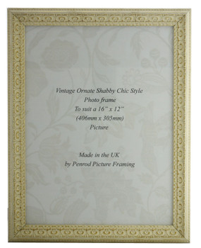 Juliet White Handmade Ornate Distressed Soft White Shabby Chic 14x11 inch Photo Frame with Gold highlights.
