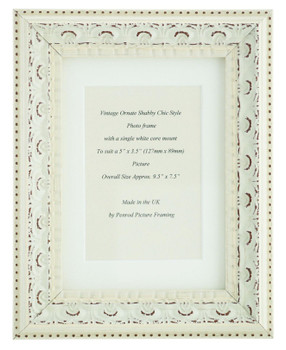 Juliet White Handmade Ornate Distressed Soft White Shabby Chic Photo Frame with mount for 5 x 3.5 inch picture.