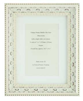 Juliet White Handmade Ornate Distressed Soft White Shabby Chic Photo Frame with mount for 6 x 4 inch picture.