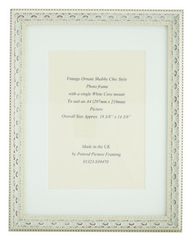 Juliet White Handmade Ornate Distressed Soft White Shabby Chic Photo Frame with mount for an A4 picture.