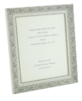 Lille 007  Handmade 12x10 inch Shabby Chic Photo Frame in Ornate Distressed White and Dark Grey Embossed Pattern.