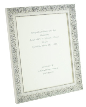 Lille 007  Handmade 14x11 inch Shabby Chic Photo Frame in Ornate Distressed White and Dark Grey Embossed Pattern.