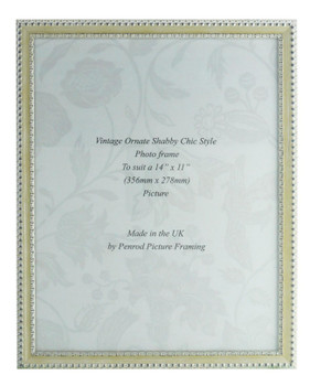 Salzburg Handmade Ornate Distressed Cream and Silver Shabby Chic 14x11 inch Photo Frame.