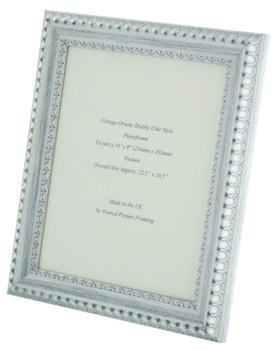 Salzburg Handmade Ornate Distressed White and Silver Shabby Chic 10x8 inch Photo Frame.