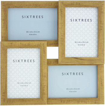 Sixtrees WD205-4C Twilight Oak Multi Aperture Photo Frame for Four 6x4 inch pictures.