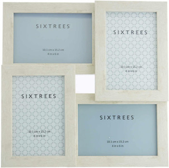 Sixtrees WD206-4C Laser White Multi Aperture Photo Frame for Four 6x4 inch pictures.