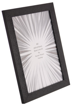 Charleston Shiny Embossed Black A4 Certificate photo frame (297x210mm) with mirror effect edge.