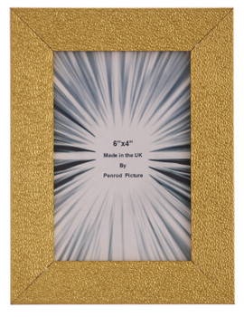 Charleston Shiny Embossed Sparkly Gold 6x4 inch photo frame with mirror effect edge.