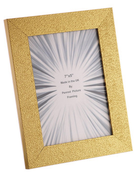 Charleston Shiny Embossed Sparkly Gold 7x5 inch photo frame with mirror effect edge.