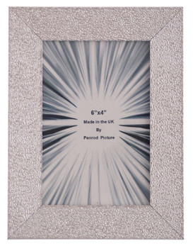 Charleston Shiny Embossed Sparkly Silver 6x4 inch photo frame with mirror effect edge.