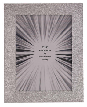 Charleston Shiny Embossed Sparkly Silver 8x6 inch photo frame with mirror effect edge.